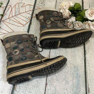 Sorel 9 winter boots brown green lining waterproof